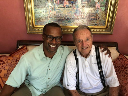 FSU coach Willie Taggart with former FSU coach Bobby Bowden.