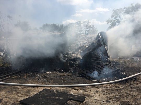 A mobile home near Port St. John was destroyed by a fire Wednesday.