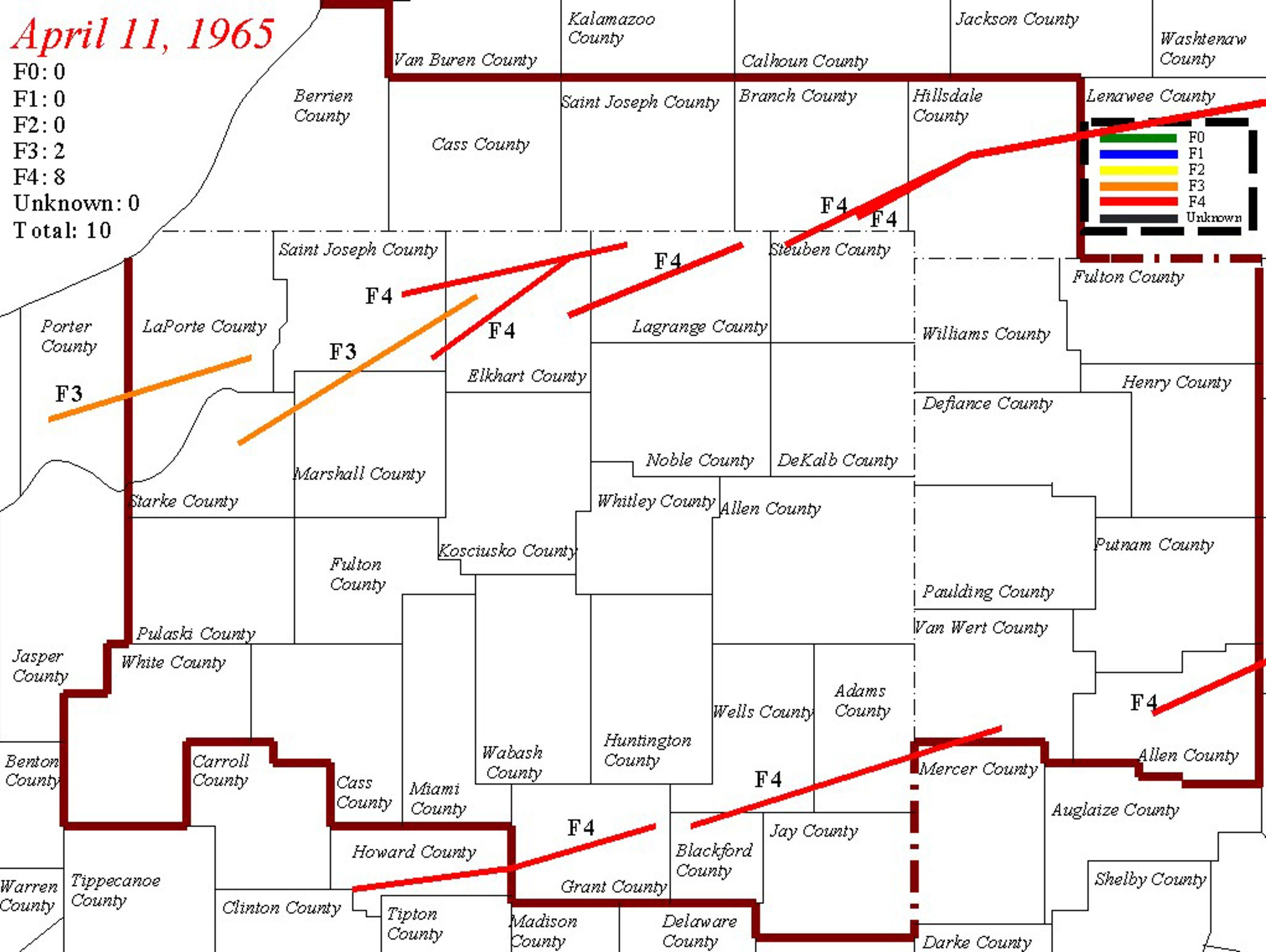 Map of tornado tracks from the 1965 Palm Sunday tornado