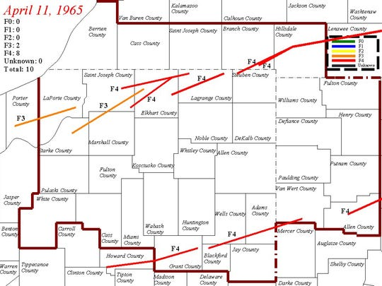 Map of tornado tracks from the 1965 Palm Sunday tornado outbreak, in northern Indiana includes the Fujita scale intensity of each tornado.