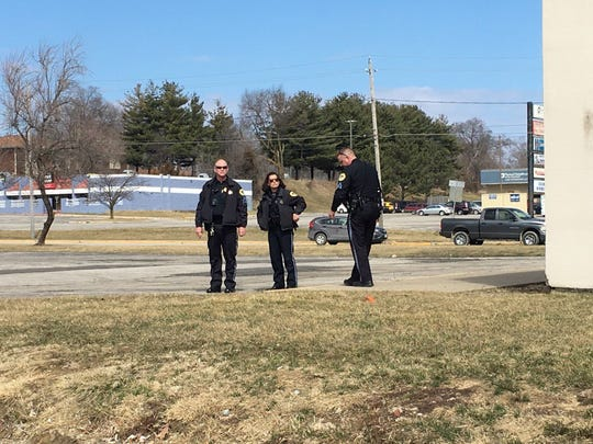 Des Moines police investigate a shooting near the southside Hy-Vee Friday morning.