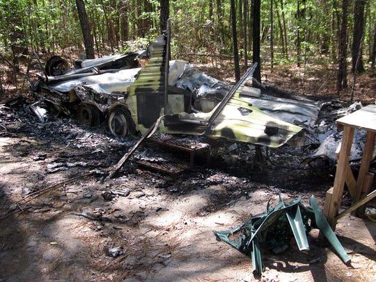 Vandalism damage to a deer camp in north Bossier Parish.