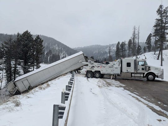 A truck delivering food to the Hi-Line jackknifed and