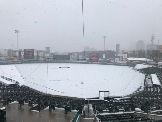 Snow covers Frontier Field on what was scheduled as
