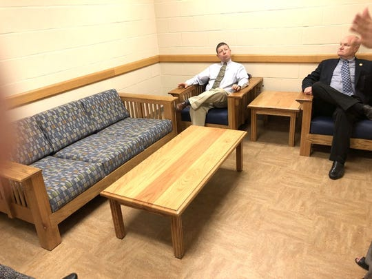 Bunkie Council member Travis Armand (left) and  Mayor Mike Robertson sit in the family room of an ACY dormitory.