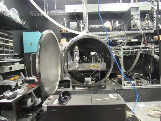NASA scientists are developing the Visible Nulling Coronagraph, a high contrast imaging instrument that will help scientists directly detect certain exoplanets. It is located in the high contrast wavefront sensing and control lab at the Goddard Space Flight Center in Greenbelt, Maryland.