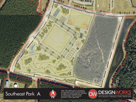 A possible design for a new city park in the southeast part of town.