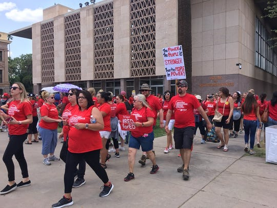 Teachers outside the Arizona state Capitol in Phoenix