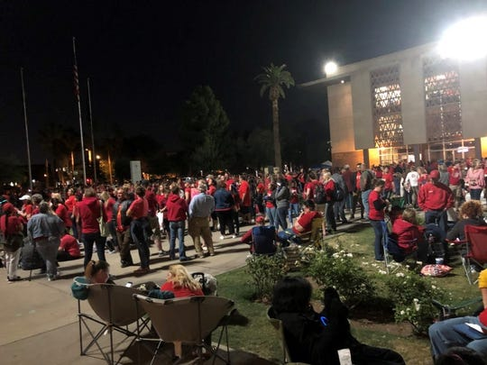 Hundreds of #RefForEd supports gather outside the Arizona