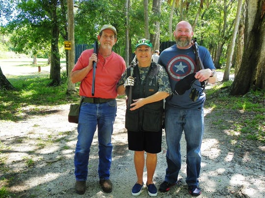 Third place winners, left, left, Joel Wilsher, Dede Snowden, and Sean Seevers at the 18th annual Charity Shoot at WindsorGun ClubonApril 28.