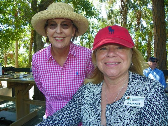 Patrice Stowe, left, past president of the Education Foundation, keeps score with Education Foundation President Cathy Filusch at the 18th annual Charity Shoot at WindsorGun ClubonApril 28.