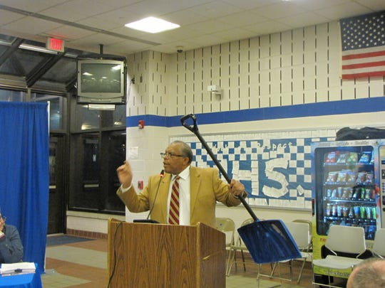 Montclair Township resident and activist David Herron speaks during a Montclair Board of Education meeting in 2016.