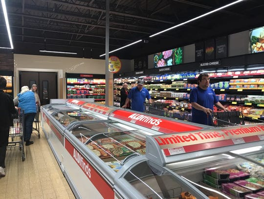 Customers browse for groceries at Aldi in Rib Mountain