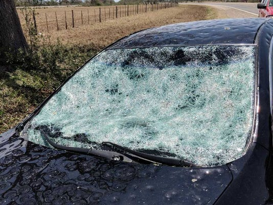 Hail damage to vehicle in Richland Springs, Texas