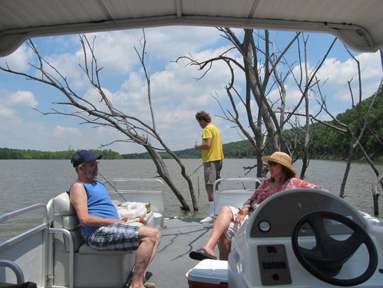 A pontoon offers fishing, swimming and even cookouts.