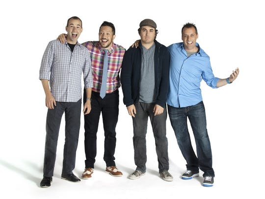 "The stars of truTV's hit hidden camera prank show ""Impractical Jokers"" (from left to right, James ""Murr"" Murray, Sal Vulcano, Brian ""Q"" Quinn, and Joe Gatto) are performing at Hertz Arena."