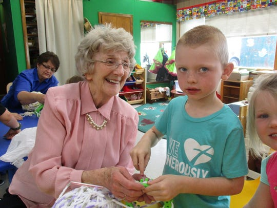 Volunteers guided students in the St. John Lutheran