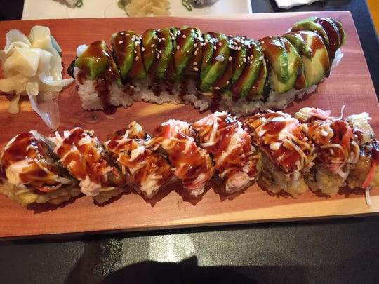 The Boilermaker roll and the Caterpillar roll from Tsunami in West Lafayette.