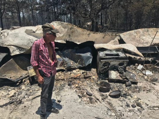 Some victims of the Eastpoint wildfire like Jimmy Boone were being allowed back to their properties for the first time, only to find everything destroyed.