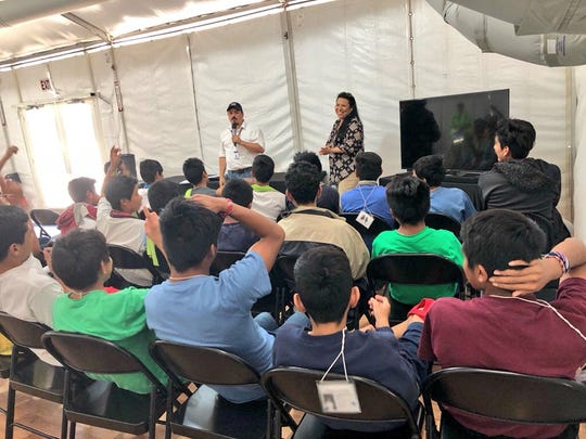 Immigrant children at the temporary shelter in Tornillo.