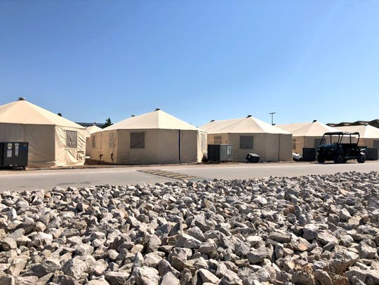 A recent photo of the tent shelter housing immigrant children near the Tornillo port of entry. Courtesy of Guatemalan General Consul Tekandi Paniagua.