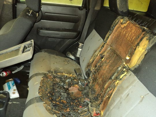Investigators discovered the seats were burned.