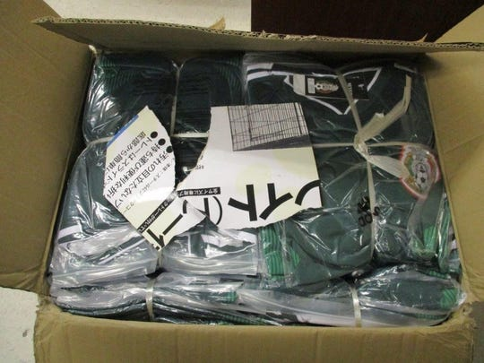 The counterfeit Mexico jerseys from Thursday's seizure were being sent from Hong Kong to several El Paso addresses.