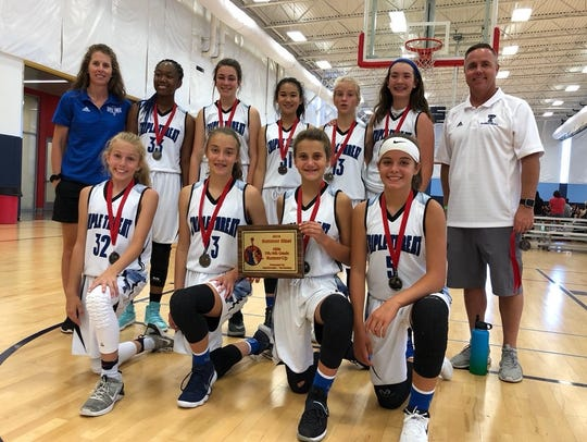 The NOCO Triple Threat Elite seventh-grade girls basketball team improved to 58-9 while finishing second in the recent Arizona Summer Blast Tournament. Team members, from left, are, front row: Sam Darnell, Taryn Kravig, Julia Smith, Delaney Matkin; back row, assistant coach Danielle Smith, Abby Saville, Peyton Everhart, Hennie Wu, Bella Schilling,, Miranda Wiedeman; not pictured: Kate Davis and Skylar Haase.