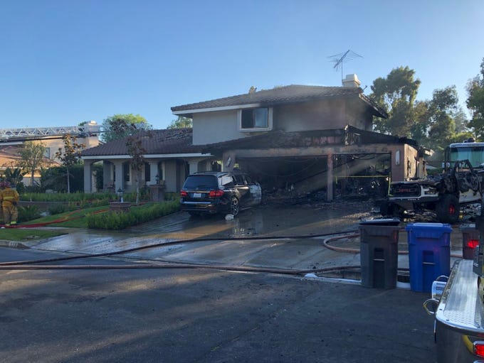 Crews from Ventura County Fire continued to work on