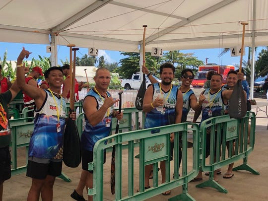 Paddlers, from left, Matthew Tayama, John Aguon, Carl Aguon, Sith Khamvongsa, Bill Quichocho and Frank Roberto of Team Ifit raced in the 1500 meter V6 competition in Tahiti.