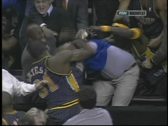 Video broadcast captures Ron Artest fighting in the