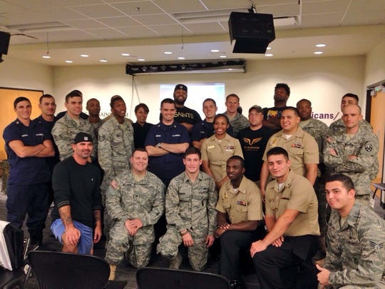The New Orleans Saints host members of the U.S. Armed