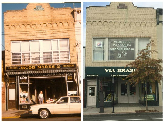 For generations, Jacob Marks Co., left, was a fruit and grocery store at 116 N. Main St. in Port Chester. Today, the Marks Building is occupied by Via Brasil, a meat market and grocery store catering to the flavors of Brazil. The store's owner is Luzia Tiene, who lives in New Rochelle.