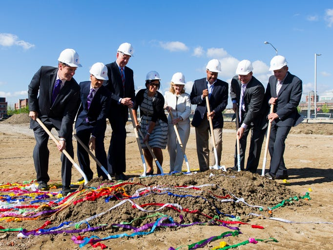 Dignitaries gathered Wednesday, July 16, 2014, to break ground near CityWay to break ground for a new $22 million, 87,000 square foot YMCA, slated to open in 2015.