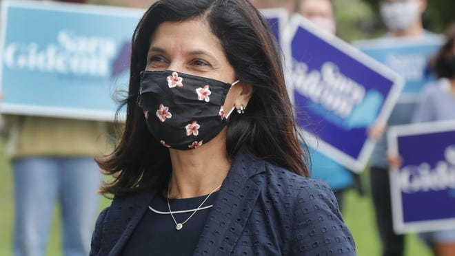 Maine House Speaker Sara Gideon, D-Freeport, speaks to news media near a polling station, Tuesday, July 14, 2020, in Portland, Maine. Gideon won a three-way race for the Democratic nomination in the U.S. Senate race to take on Republican Sen. Susan Collins.