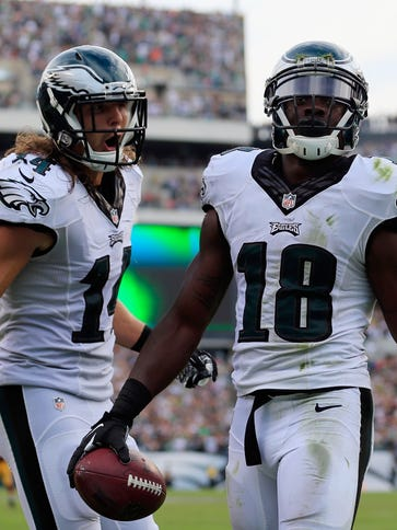 Eagles WRs Riley Cooper, left, and Jeremy Maclin both