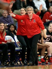FILE – North Central coach DeeAnn Ramey argues a call in the second half of the 2015 IHSAA Girls Basketball Sectional game.