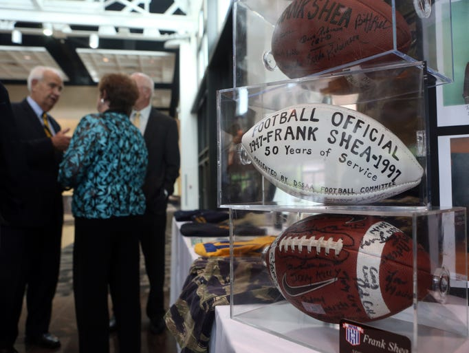 Memorabilia focusing on Frank Shea's decades of service as a referee is on display at the Delaware Sports Museum and Hall of Fame 39th annual banquet, Thursday, May 15, 2014 at the Chase Center on the Riverfront. Shea was one of 10 athletes, coaches and officials who were inducted into the hall as part of the night's events. The Class of 2014 included: Ernie Anderson (DSU track and football), Tom DeMatteis (St. Mark's soccer coach) Tom Hickman (Cape Henlopen High School track coach), Alvin Huey (Milford High School and University of Delaware track and football), Dario Mas (racquetball), Derrick May (Newark High and major league baseball), Judith Anderson O'Neill (martial arts), Frank Shea (multiple sports longtime official), Ben Sirman (football coach and three-sport standout) and John Testa (St. Mark's wrestling).