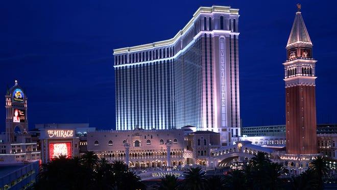 Lights illuminate the Venetian Casino October 4, 2001 in Las Vegas, NV.