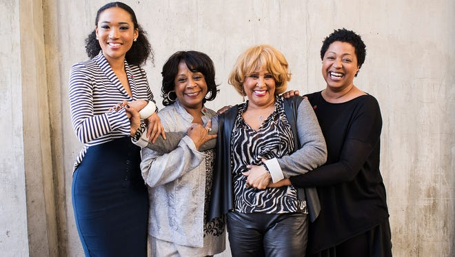 "(L-R) Singers Judith Hill, Merry Clayton, Darlene Love and Lisa Fischer, featured in the Academy Award-winning documentary film ""20 Feet From Stardom,"" pose for a portrait at the Rose Bowl in Pasadena, Calif.  on Dec. 31, 2013."