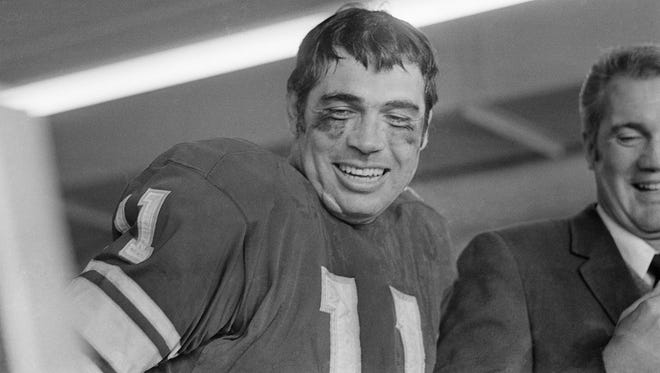 Quarterback Joe Kapp, shown here after he led the Minnesota Vikings to a win in the 1969 NFL Championship Game, was one of the many former Salinas football players drafted to the NFL.