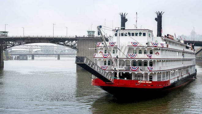 The 223-passenger American Empress arrives in Portland, Ore. on April 5, 2014.