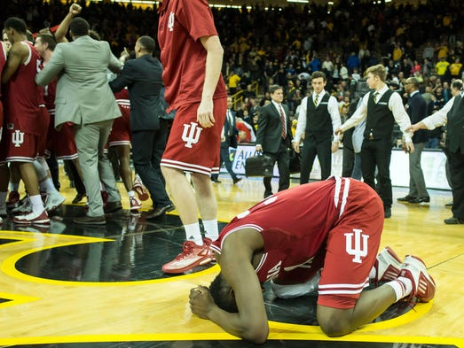 Indiana Hoosiers center Thomas Bryant (31) celebrates