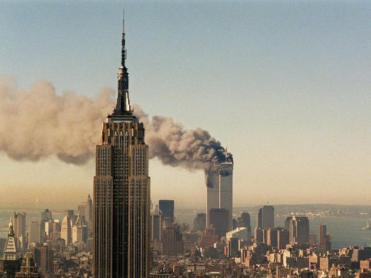 The World Trade Center burns in New York City on Sept. 11, 2001. Sunday is the 15th anniversary of 9/11.