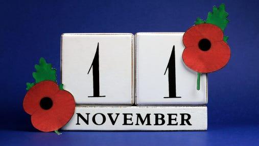 Save the Date, white block calendar, for November 11
