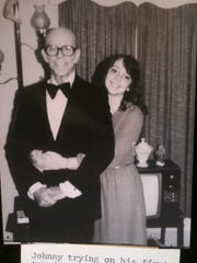 Melinda Mullins and her dad before the Grammy Awards.