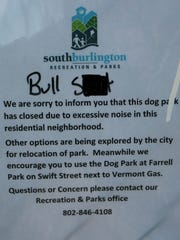 A sign was defaced at Jaycee Park on Friday, Nov. 25,