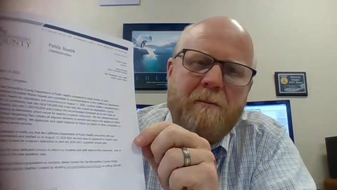 Lucerne Valley Unified School District Superintendent Peter Livingston took to YouTube on Wednesday, Aug. 12, 2020, to announce that the state of California granted his request to open Lucerne Valley Elementary School.