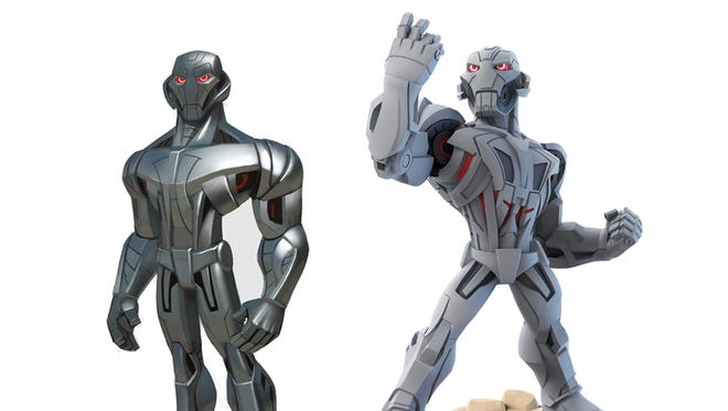 """Concept art and the final design for Marvel supervillain Ultron in the upcoming """"Disney Infinity 3.0"""" video game."""