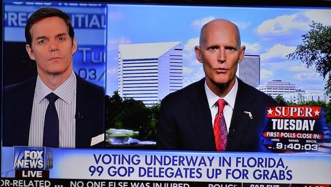 Rick Scott appears on Fox News on Tuesday morning.